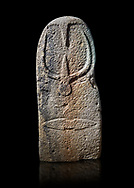 Late European Neolithic prehistoric Menhir standing stone with carvings on its face side. The representation of a stylalised male figure starts at the top with a long nose from which 2 eyebrows arch around the top of the stone. below this is a carving of a falling figure with head at the bottom and 2 curved arms encircling a body above. at the bottom is a carving of a dagger running horizontally across the menhir. Excavated from Bau Carradore II, Laconi. Menhir Museum, Museo della Statuaria Prehistorica in Sardegna, Museum of Prehoistoric Sardinian Statues, Palazzo Aymerich, Laconi, Sardinia, Italy. Black background. .<br /> <br /> Visit our PREHISTORIC PLACES PHOTO COLLECTIONS for more photos to download or buy as prints https://funkystock.photoshelter.com/gallery-collection/Prehistoric-Neolithic-Sites-Art-Artefacts-Pictures-Photos/C0000tfxw63zrUT4