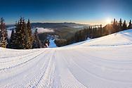 Above the ski slope in Pamporovo winter resort