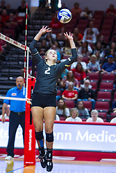 BLOOMINGTON, IL - September 14: Erin Olson during a college Women's volleyball match between the ISU Redbirds and the University of Central Florida (UCF) Knights on September 14 2019 at Illinois State University in Normal, IL. (Photo by Alan Look) Official in background - Dean Hoskin