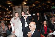 SVETLANA K-LIE; JOHN HURT WITH HIS LIBERATUM AWARD, ALKAN YENTOB, , Liberatum Cultural Honour  for John Hurt, CBE in association with artist Svetlana K-Lié.  Spice Market, W London - Leicester Square