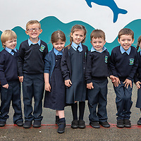 Junior Infants Tyler Peters, Jack Greene, Padraig Slattery, Olive Cusack,  Lily Considine, David Dutfield, Jamie Sugrue and Sophie Buckley at St McCreehy's National School, Liscannor