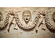 """Close up picture of Roman relief sculpted Sarcophagus of Garlands, 2nd century AD, Perge. This type of sarcophagus is described as a """"Pamphylia Type Sarcophagus"""". It is known that these sarcophagi garlanded tombs originated in Perge and manufactured in the sculptural workshops of Perge. Antalya Archaeology Museum, Turkey.. Against a white background..<br /> <br /> If you prefer to buy from our ALAMY STOCK LIBRARY page at https://www.alamy.com/portfolio/paul-williams-funkystock/greco-roman-sculptures.html . Type -    Antalya    - into LOWER SEARCH WITHIN GALLERY box - Refine search by adding a subject, place, background colour, etc.<br /> <br /> Visit our ROMAN WORLD PHOTO COLLECTIONS for more photos to download or buy as wall art prints https://funkystock.photoshelter.com/gallery-collection/The-Romans-Art-Artefacts-Antiquities-Historic-Sites-Pictures-Images/C0000r2uLJJo9_s0"""