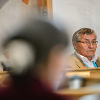 012615  Adron Gardner/Independent<br /> <br /> Navajo Nation President Ben Shelly takes a seat at the Navajo Nation Tribal Council chambers in Window Rock Monday.