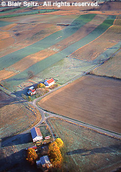 Southcentral Pennsylvania, Aerial Photograph, Farmlands, Mixed Cultivation, Cumberland Co., PA