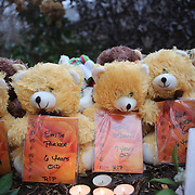 Teddy Bears with the names of the fallen children at the shrine set up around the towns Christmas tree in Sandy Hook after the mass shootings at Sandy Hook Elementary School, Newtown, Connecticut, USA. 16th December 2012. Photo Tim Clayton