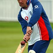 England's Alec Stewart during fielding practice at Edgbaston.