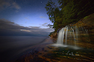 Night sky over Miner's Beach,<br /> Pictured Rocks National Lakeshore