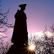 Silhouette of statue of General James Wolfe at Greenwich Observatory, London. James Wolfe is best known for his victory over the French in Cananda and establishing British rule there.