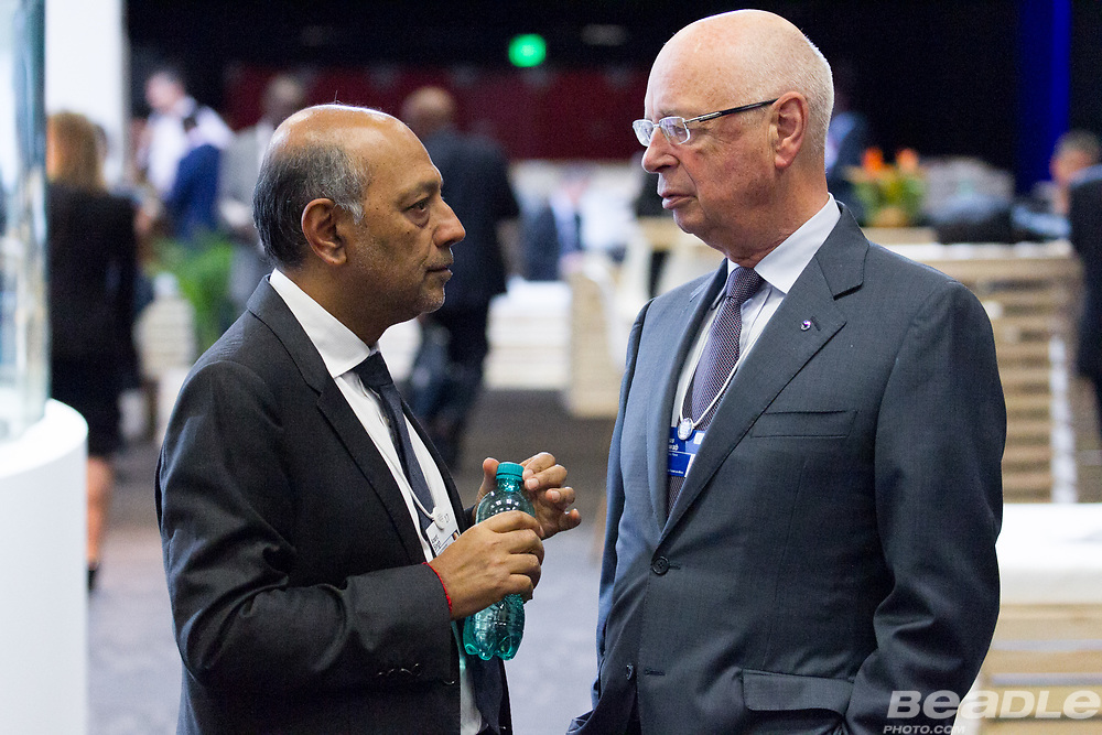 Anant Singh, Producer<br /> Videovision Entertainment and Klaus Schwab, Founder and Executive Chairman<br /> World Economic Forum at the World Economic Forum on Africa 2017 in Durban, South Africa. Copyright by World Economic Forum / Greg Beadle