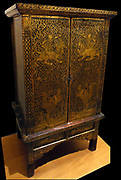 Writing desk or cabinet. Mid 19th Century from Thailand (Siam). Made from  gilded, lacquer on teak. Chakri dynasty (Ratanakosin Era) (1782-20th century)