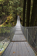 Suspension bridge at Cascade Falls Regional Park near Mission, British Columbia, Canada
