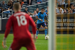 September 5, 2018 - Bronx, New York, United States - New York City defender RONALD MATARRITA #22 looks for a cross while New England Revolution goalkeeper BRAD KNIGHTON #18  looks on during a regular season match at Yankee Stadium in Bronx, NY.  New England Revolution defeats New York City FC 1 to 0 (Credit Image: © Mark Smith/ZUMA Wire)