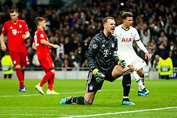 Manuel Neuer of Bayern Munich looks frustrated after Harry Kane of Tottenham Hotspur scores from the penalty spot - Rogan/JMP - 01/10/2019 - FOOTBALL - Tottenham Hotspur Stadium - London, England - Tottenham Hotspur v Bayern Munich - UEFA Champions League Group B.