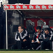 Besiktas's coach Bernd SCHUSTER (L) during their Turkish Superleague Derby match Besiktas between Fenerbahce at the Inonu Stadium at Dolmabahce in Istanbul Turkey on Sunday, 20 February 2011. Photo by TURKPIX