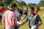 Stuart Grehan congratulates Paul Dunne (Greystones) on winning the East of Ireland Amateur Open Championship 2013 Co Louth Golf club 3/6/13<br /> Picture:  Thos Caffrey / www.golffile.ie