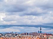 Madrid, August 2012. Skyline of Madrid, tower Torre España, built in 1982, 232 meters, Emilio Fernandez architects. Madrid has 3,200,000 population.
