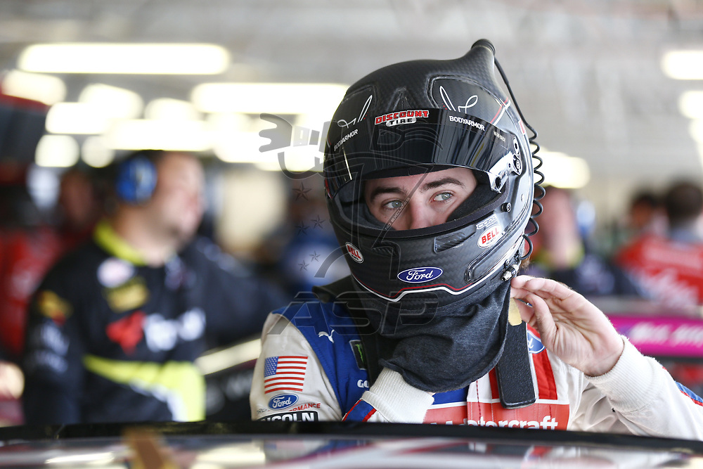 October 20, 2017 - Kansas City, Kansas, USA: Ryan Blaney (22) hangs out in the garage during practice for the Kansas Lottery 300 at Kansas Speedway in Kansas City, Kansas.