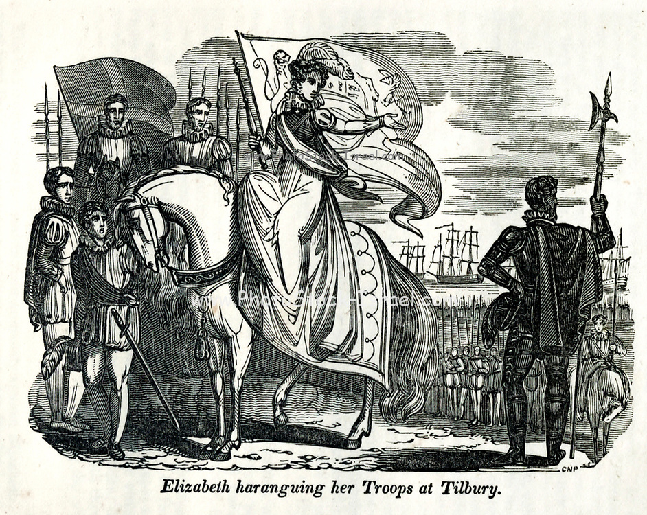 Elizabeth haranguing her Troops at Tilbury from the book History of England : with separate historical sketches of Scotland, Wales, and Ireland; from the invasion of Julius Cæsar until the accession of Queen Victoria to the British throne. By Russell, John, A. M., Published in Philadelphia by Hogan & Thompso in 1844