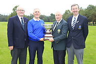 GUI President John Moloughney presents the trophy to Michael Coote munster team with Michael Heeney Chair Connacht Golf and Jim Long Chair Munster Golf at the finals of the Interprovincial Championship 2018, Athenry golf club, Galway, Ireland. 31/08/2018.<br /> Picture Fran Caffrey / Golffile.ie<br /> <br /> All photo usage must carry mandatory copyright credit (© Golffile | Fran Caffrey)