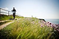 Nordic Walking at Freshwater Bay, Isle of Wight.