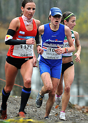27-11-2011 ATLETIEK: NK CROSS 53e WARANDELOOP: TILBURG<br /> Sabrina Mockenhaupt GER wins the bronze medal and Andrea Deelstra<br /> ©2011-FotoHoogendoorn.nl