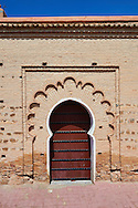 Arabesque doorway to the Koutoubia Mosque completed 1199 with a square Berber minaret, Marrakesh, Morroco .<br /> <br /> Visit our MOROCCO HISTORIC PLAXES PHOTO COLLECTIONS for more   photos  to download or buy as prints https://funkystock.photoshelter.com/gallery-collection/Morocco-Pictures-Photos-and-Images/C0000ds6t1_cvhPo<br /> .<br /> <br /> Visit our ISLAMIC HISTORICAL PLACES PHOTO COLLECTIONS for more photos to download or buy as wall art prints https://funkystock.photoshelter.com/gallery-collection/Islam-Islamic-Historic-Places-Architecture-Pictures-Images-of/C0000n7SGOHt9XWI