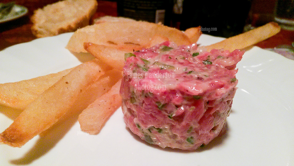 Steak Tartare and Pommes Frites. Dinner at RSVP Restaurant in West Cornwall Connecticut April 2016