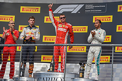 October 21, 2018 - Austin, TX, U.S. - AUSTIN, TX - OCTOBER 21: Ferrari driver Kimi Raikkonen (7) of Finland gives a big thumbs up to the crowd after winning the F1 United States Grand Prix on October 21, 2018, at Circuit of the Americas in Austin, TX. (Photo by Ken Murray/Icon Sportswire) (Credit Image: © Ken Murray/Icon SMI via ZUMA Press)