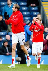 Stoke City's Peter Crouch and Stoke City's Oliver Shenton acknowledge the away support - Photo mandatory by-line: Matt McNulty/JMP - Mobile: 07966 386802 - 14/02/2015 - SPORT - Football - Blackburn - Ewood Park - Blackburn Rovers v Stoke City - FA Cup - Fifth Round