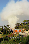 Bush fire smoke approaching buildings. Victoria, Australia<br /> <br /> For larger JPEGs and TIFF Contact EFFECTIVE WORKING IMAGE via our contact page at : www.photography4business.com