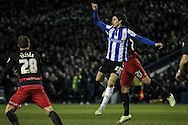 Kieran Lee (Sheffield Wednesday) jumps to head the ball, but it is delivered over him during the Sky Bet Championship match between Sheffield Wednesday and Queens Park Rangers at Hillsborough, Sheffield, England on 23 February 2016. Photo by Mark P Doherty.