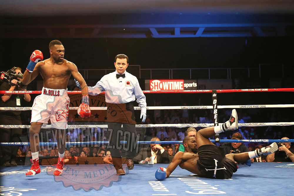 VERONA, NY - JUNE 09:  Steve Rolls looks on as Demond Nicholson hits the mat during a ShoBox boxing match at the Turning Stone Resort Casino on June 9, 2017 in Verona, New York. (Photo by Alex Menendez/Getty Images) *** Local Caption *** Steve Rolls; Demond Nicholson