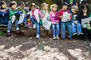 First grade students from Melrose Leadership visit Sausal Creek during a field trip in Oakland, California. Melrose Leadership Academy is an OUSD dual immersion district school.