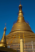 """Botataung Pagoda literally """"1000 military officers"""" is a famous pagoda located in  Yangon, Myanmar, near the Yangon river. The pagoda was first built by the Mon around the same time as Shwedagon Pagoda over 2500 years ago and houses what is believed to be a sacred hair of Buddha."""