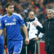 Chelsea's coach Jose Mourinho (R) during their UEFA Champions League Round of 16 First leg soccer match Galatasaray between Chelsea at the AliSamiYen Spor Kompleksi in Istanbul, Turkey on Wednesday 26 February 2014. Photo by Aykut AKICI/TURKPIX