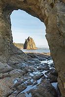 Split Rock seen through Hole in the Wall, Rialto Beach, Olympic National Park Washington
