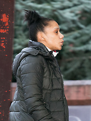 © Licensed to London News Pictures. 11/01/2016, Birmingham, UK. Samora Roberts better known as Black Dee arriving at Birmingham Crown Court earlier today. One of the stars of Channel 4's Benefits Streets programme she has been convicted of drugs and ammunition offences. Photo credit : Dave Warren/LNP