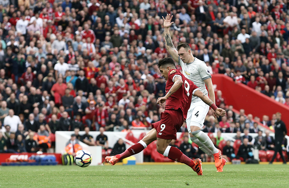 Liverpool's Roberto Firmino is caught off side early in the second half<br /> <br /> Photographer Rich Linley/CameraSport<br /> <br /> The Premier League - Liverpool v Manchester United - Saturday 14th October 2017 - Anfield - Liverpool<br /> <br /> World Copyright © 2017 CameraSport. All rights reserved. 43 Linden Ave. Countesthorpe. Leicester. England. LE8 5PG - Tel: +44 (0) 116 277 4147 - admin@camerasport.com - www.camerasport.com