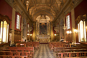 Interior of Chapelle St Roch or Church Of Saint Roch on 16th September 2017 in Bastia, Corsica, France. Bastia is a French commune in the Haute-Corse department of France located in the north-east of the island of Corsica at the base of Cap Corse. Bastia is the principal port and commercial town of the island. The inhabitants of Bastia are known as Bastiais or Bastiaises.