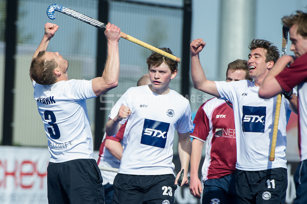 East Grinstead's Mark Pearn celebrates scoring their third goal. East Grinstead v Wimbledon -  Now: Pensions Men's Hockey League Championship Final, Lee Valley Hockey & Tennis Centre, London, UK on 12 April 2015. Photo: Simon Parker