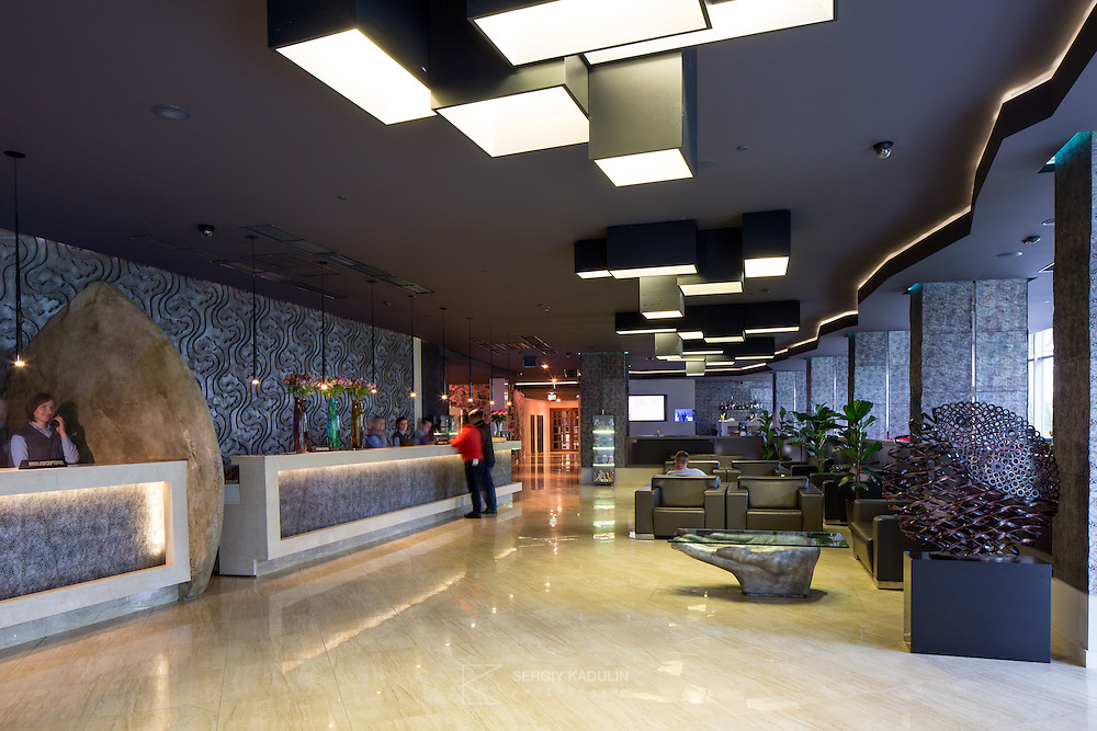 Interior view of reception area of Mirotel Resort & Spa hotel. Mirotel is 5* resort located in the heart of Truskavets, in western Ukraine.
