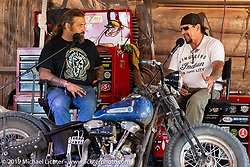 Chris Callen interviewing Billy Lane on the Grease and Gears stage in the Broken Spoke area of the Iron Horse Saloon during the Sturgis Black Hills Motorcycle Rally. Sturgis, SD, USA. Tuesday, August 6, 2019. Photography ©2019 Michael Lichter.