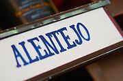 Wine shop. Alentejo shelf sign. Lisbon, Portugal