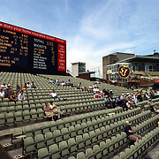 Empty stands at Edgbaston as fans stay away to watch the football.