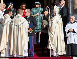 Prince Albert II and Princess Charlene of Monaco are leaving the St. Nicholas Cathedral to attend the solemn mass during the National Day ceremonies. Monaco on november 19, 2018. Photo by ABACAPRESS.COM