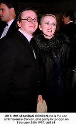 MR & MRS SEBASTIAN CONRAN, he is the son of Sir Terence Conran, at a party in London on February 24th 1997.LWR 61