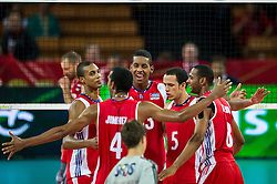 11.09.2014, Centennial Hall, Breslau, POL, FIVB WM, Kuba vs Russland, Gruppe F, im Bild Kuba radosc // Cuba gladness during the FIVB Volleyball Men's World Championships 2nd Round Pool F Match beween Cuba and Russia at the Centennial Hall in Breslau, Poland on 2014/09/11. EXPA Pictures © 2014, PhotoCredit: EXPA/ Newspix/ Sebastian Borowski<br /> <br /> *****ATTENTION - for AUT, SLO, CRO, SRB, BIH, MAZ, TUR, SUI, SWE only*****
