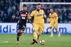 December 1, 2017 - Naples, Italy - Gonzalo Higuan of Juventus and Lorenzo Insigne of Napoli during the Serie A match between Napoli and Juventus at San Paolo Stadium, Naples, Italy on 1 December 2017. (Credit Image: © Giuseppe Maffia/NurPhoto via ZUMA Press)