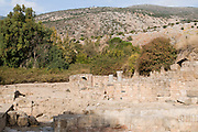 The Palace of Agrippa II from the first century CE Photographed at the Hermon Stream Nature reserve and Archaeological Park (Banias) Golan Heights Israel