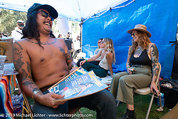Hanging out in the vendor area at the Born Free chopper show. Silverado, CA. USA. Saturday June 23, 2018. Photography ©2018 Michael Lichter.